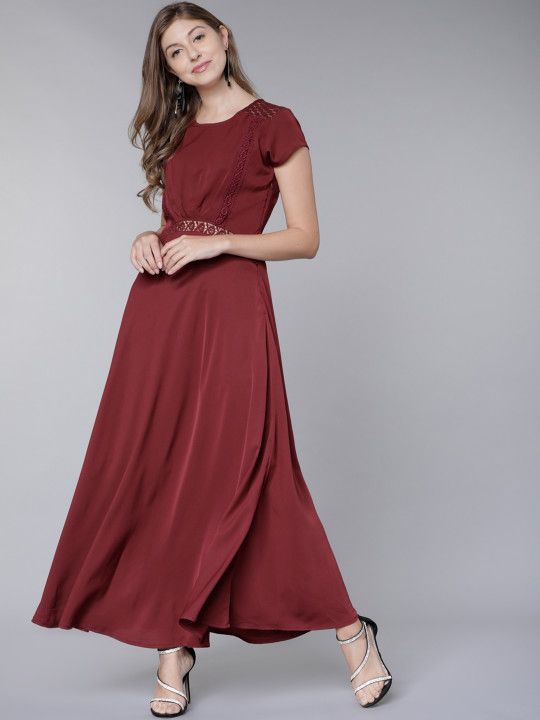 4fa36a9f22e Tokyo Talkies Women Burgundy Solid Maxi Dress - | 734 | Dresses ...