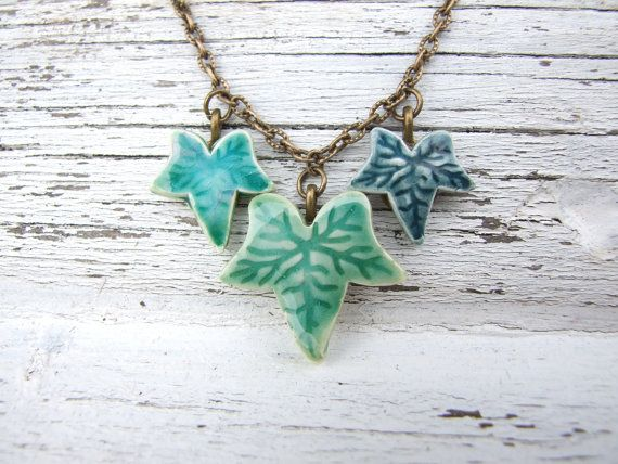 Ivy leaf necklace green glazed ceramic by damsontreepottery, £14.00