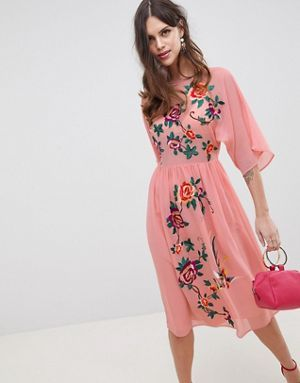 55fbba0f84d9f ASOS DESIGN Smock Midi Dress With Bird And Floral Embroidery | Maxi ...