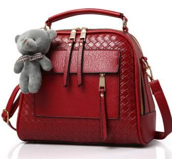 31cc1f62d6 FLYING BIRDS! Red Leather Handbag with Pouch in 8 Colors