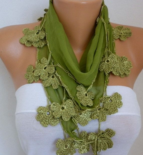 Grass Green Cotton Floral Scarf Summer Scarf Cowl by fatwoman