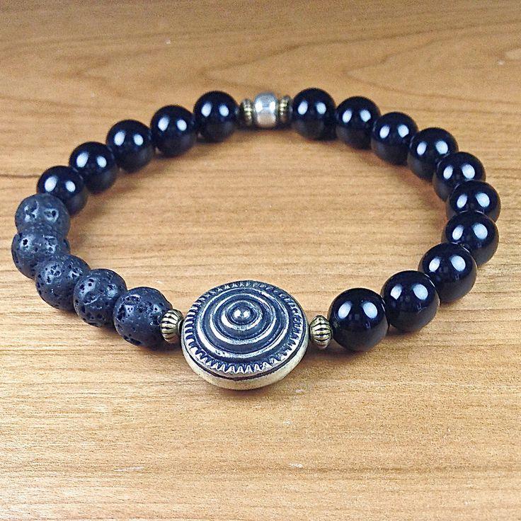 Mens Mala Bracelet, Onyx Mala Bracelet, Spirals,Tibetan Jewelry, Yoga Bracelet, Meditation Bracelet, Healing Crystals, Spiritual Jewelry