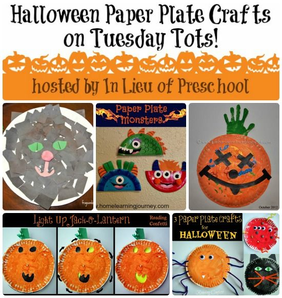 In Lieu of Preschool: 5 Halloween Paper Plate Crafts on Tuesday Tots! ..and come link up YOUR posts for under 5s! :) #linky