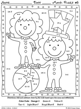 "NEWLY EXPANDED TO 6 PUZZLES!!! March ""Math-ness"": March Math Printables ~ Color By The Code Puzzles To Practice Basic Addition and Subtraction Math Facts as well as Counting Money. This Unit Is Aligned To The CCSS. Each Page Has The Specific CCSS Listed. It includes 6 math puzzles and 6 answer keys for the 6 puzzles. $"