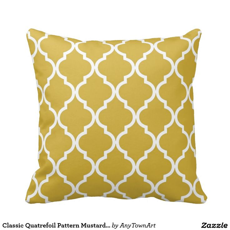 Classic Quatrefoil Pattern Mustard and White Throw Pillow