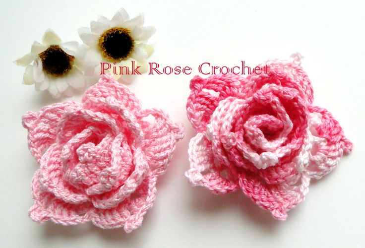 PINK ROSE CROCHET /: Flor Rosa Enrolada com Picôs, Roll up flower