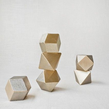 POLYHEDRON BRASS PAPER WEIGHT