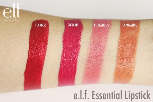 E.L.F - Essential Lipstick - Fearless; far left, and Sociable; second from far left