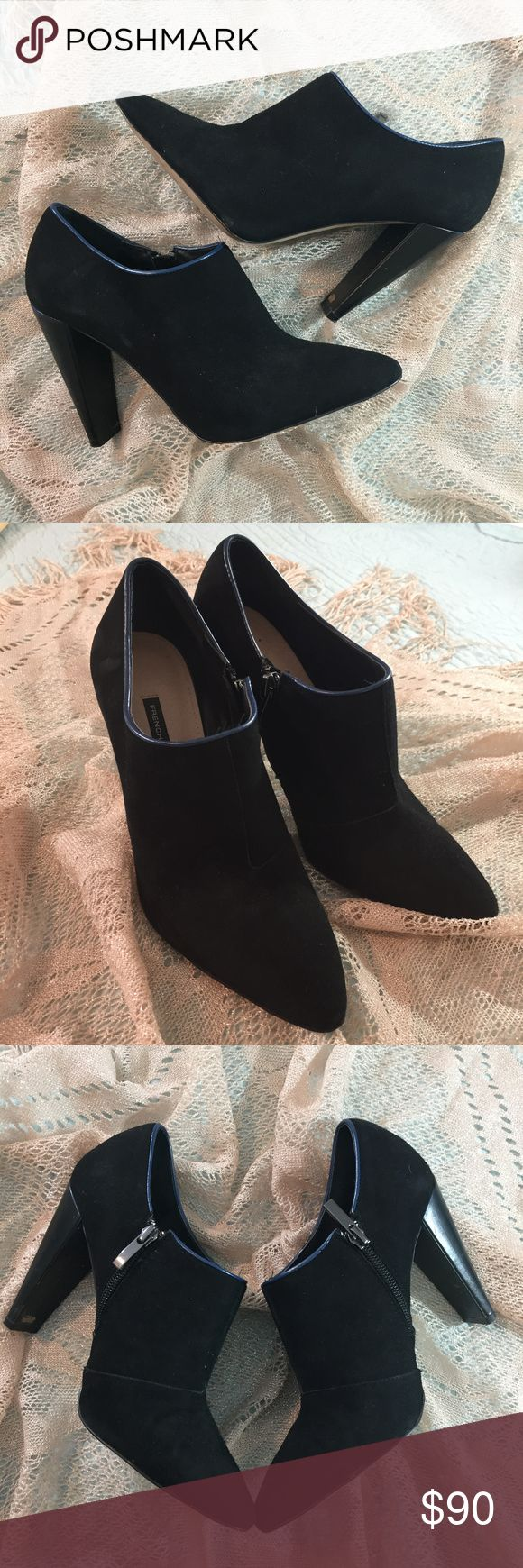 French Connection Black Booties with Blue Trim French Connection Black Booties with Blue Trim Size 28.5/8.5  EUC Smoke Free Home French Connection Shoes Ankle Boots & Booties