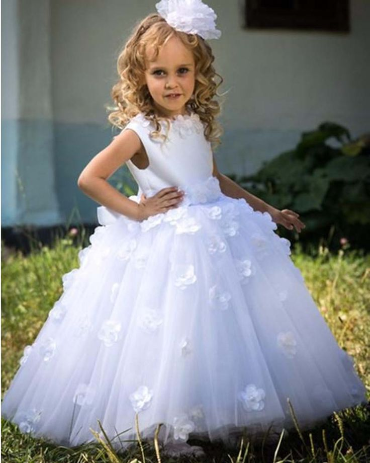 Cute Ball Gown White Flower Girls Pageant Dresses Girl For Weddings Hand Made First