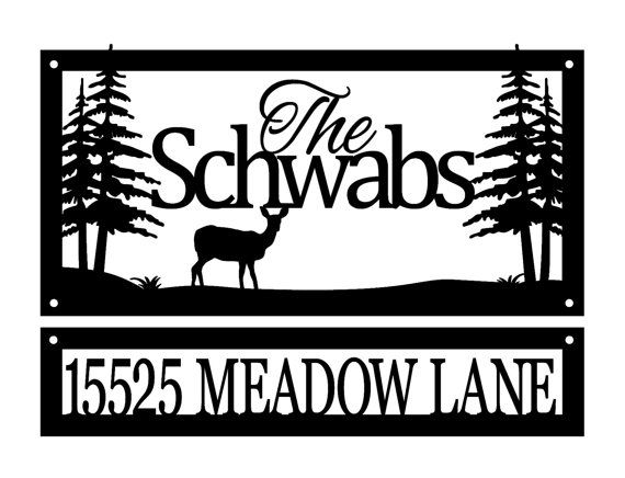 custom family name and address metal sign family last name deer