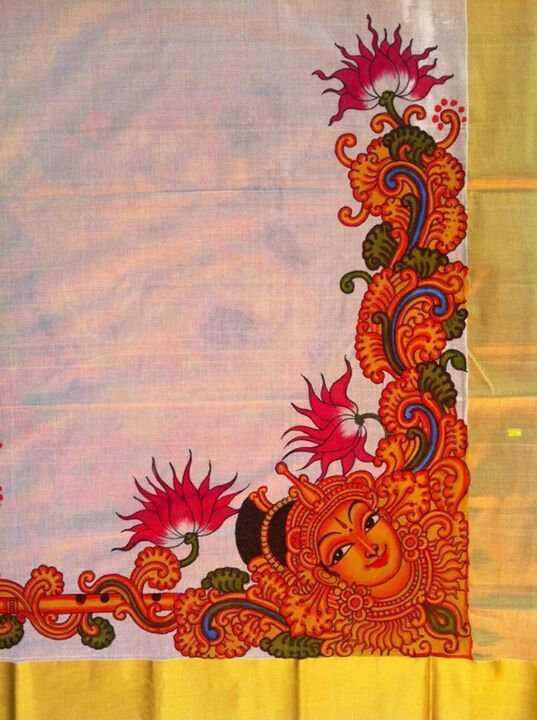 Beautiful mural painting on the saree awesome work by for Aithihya mural painting fabrics
