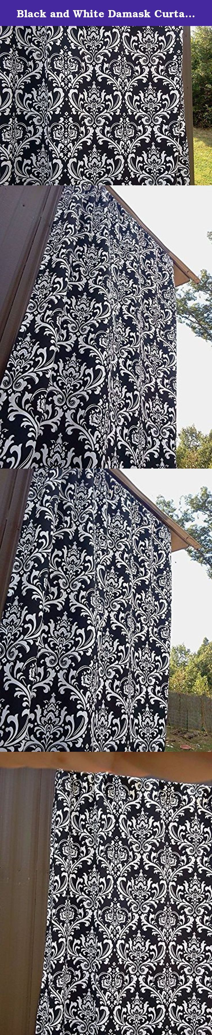"Black and White Damask Curtains, Two 84"" Long Full Length Valance Curtains, 100% quality cotton duck Premier Prints drapery fabric These curtains are 84"" Long by 52"" Wide. Black and White Damask Curtains, Full Length 84"" Curtains; 100% quality cotton duck, Premier Prints home décor weight drapery fabric. Please allow 7-14 days for delivery, as the curtains are handmade after your purchase to keep inventory costs low. Keeping inventory costs low helps keep the price of this item at a..."