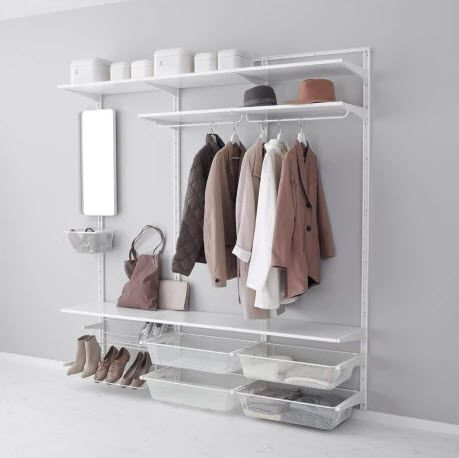 Left side. Single Algot w/ mirror, shelf, baskets