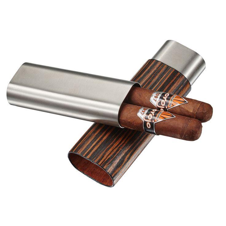Visol Ryland Ebony Wood & Stainless Steel Cigar Case