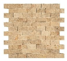 Travertine Classic Split Face Mosaic 25x50mm