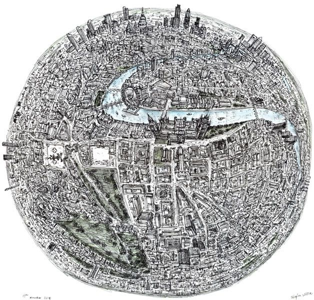 "Stephen Wiltshire's ""Globe of London."" :)"
