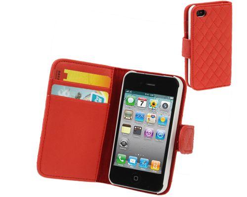 Fodral / Väska för iPhone 4 / 4S / Cross Stitch Wallet / Röd