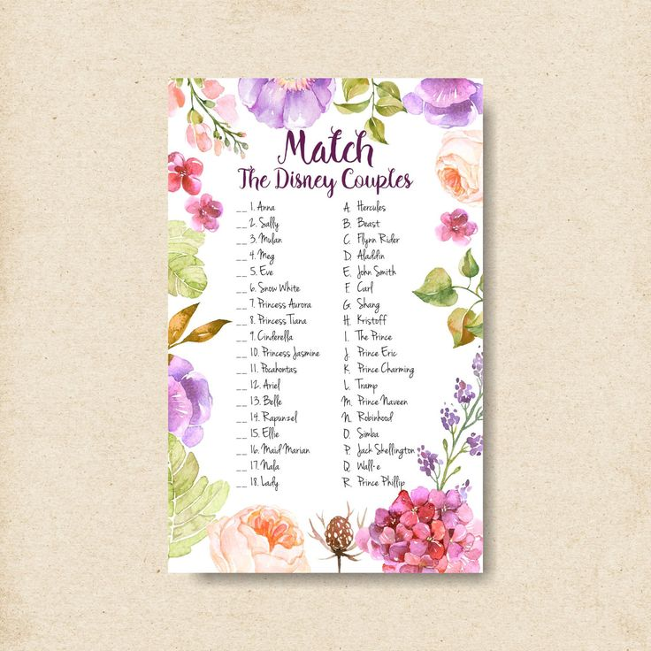 match the disney couples game bridal shower games printable