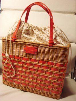 Kate Spade Quinn Wicker & Patent Coral Bag - Satchel $152