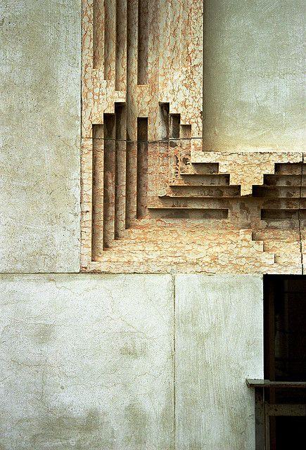 Stone detail on the facade of Banca Popolare by Carlo Scarpa, in Verona, Italy
