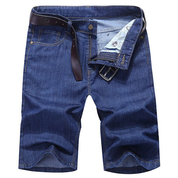 Summer Denim Straight Knee Length Plus Size Loose Solid Color Short... ($29) ❤ liked on Polyvore featuring men's fashion, men's clothing, men's jeans, mens embellished jeans, mens dark blue jeans, mens light blue jeans, loose fitting men's jeans and mens slim straight jeans