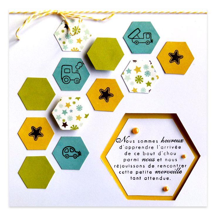 Carte Félicitations naissance garçon Hexagones & Jouets, Collection Lovely Scrap, Lovely Carte