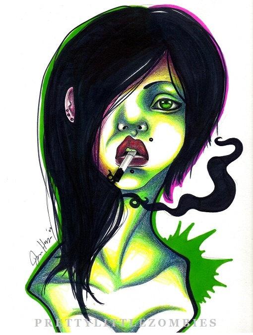 Zombie print 8x12 smoke by prettylittlezombies on etsy for Mirror zombie girl