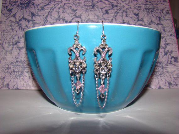 Pink and Crystal Swarovski Chandelier Earrings by KraftsByKeller, $9.00
