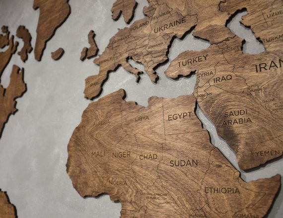 Wooden World Map Valentine Gift Large Map of the World Wall Canvas Print Art Traveler gift Travel lover Wanderlust Home for Girlfriend Welcome!  Wonderful news! We have new great item in our shop - wooden wall world map! It is excellent gift for your family, friends or coworkers. Also its outstanding element of decor for your home or office. ✓ It has all names of countries and lines of borders.  ✓ It is very smooth and thin.  ✓ Material - birch plywood.  ✓ With this map you will get for FREE…