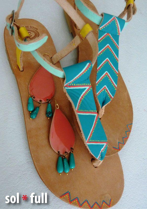 Ethnic. Handmade - Handpainted leather sandals.