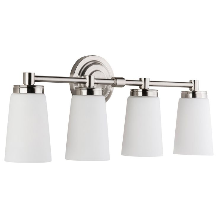 Sheffield Vanity Wall Sconce Four-Light Fixture Brushed Nickel with Frosted Glass Shade. Hardwired, UL Listed Linea di Liara LL-WL260-4-BN - - Amazon.com