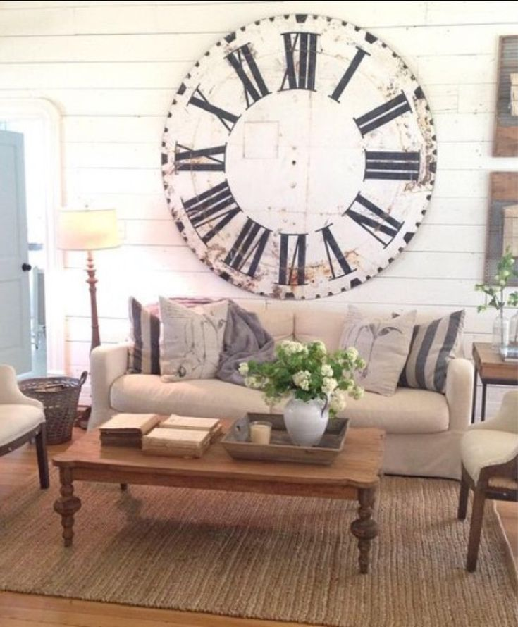 """48″ OVERSIZED """"Joanna Gaines"""" Farmhouse Style Wooden Clock–(Dial only) Black & White Roman Numeral"""