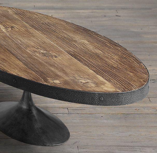 Aero Reclaimed Elm Oval Coffee Table Oval Coffee Tables