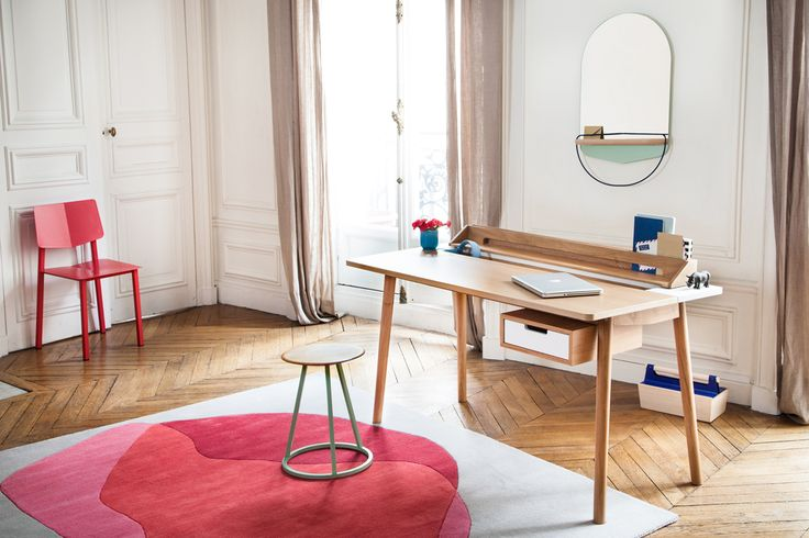 Working at home, by Hartô  Be inspired ! Desk Honoré, stool Gustave, carpet Jane, chair Rosalie, box Louisette, mirror Modeste... !