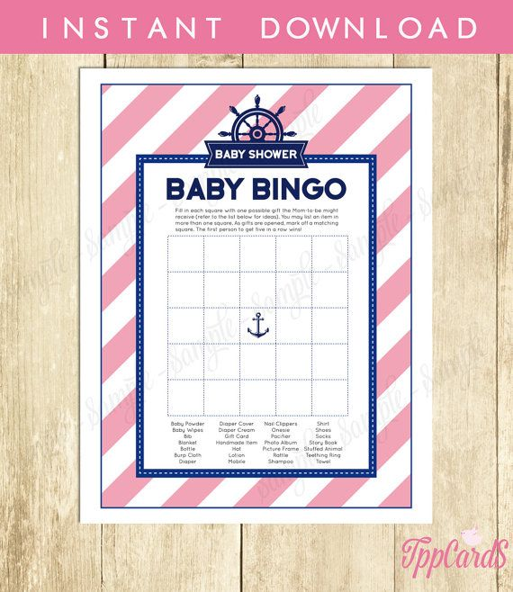 Instant Download Pink Nautical Baby Shower Bingo Cards Printable Sailor Theme Party Game Sheets for Baby Girl Blue Pink Anchor by TppCardS #tppcards