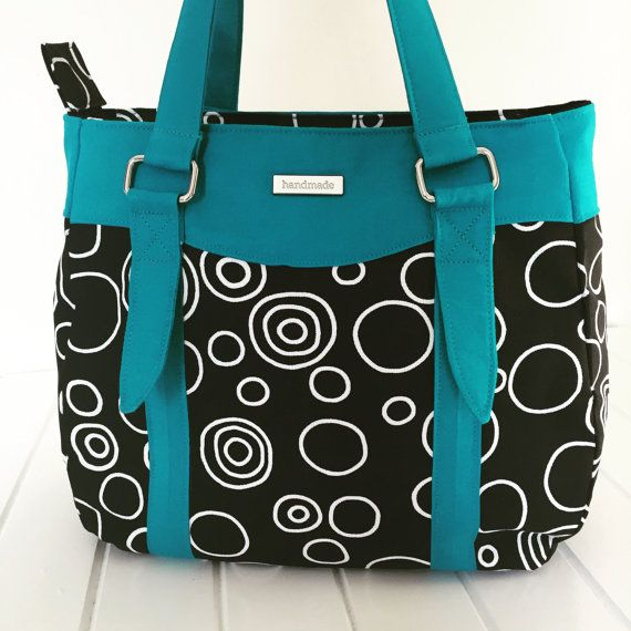 Handmade Fabric Handbag, Handmade Purse, Swoon Evelyn Handbag, Handmade bag for Ladies, Teal and Black Bag, Fabric Purse