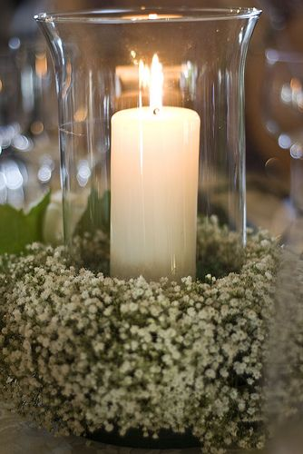 candles and flowers centerpieces | hurricane lamp and flower centerpiece