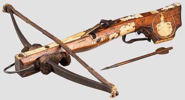 Jagd-/Sportarmbrust, deutsch, datiert 1726  Kräftiger Stahlbogen mit originaler Strickverankerung,