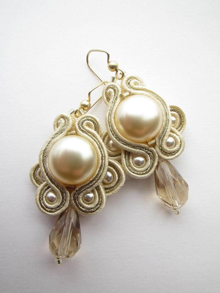 soutache: Bridal champagne earrings. $40.00, via Etsy.
