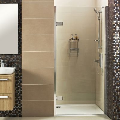 --- A stunning frameless Hinged Shower Door for your alcove space, featuring 10mm thick glass for a designer finish. --- Available from Roman Ltd - British Made Luxury Shower Enclosures and Bath Screens. Images Copyright www.roman-showers.com