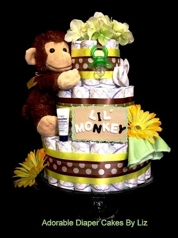 The ever popular Lil Monkey diaper cake for those safari and jungle themed baby showers and nurseries