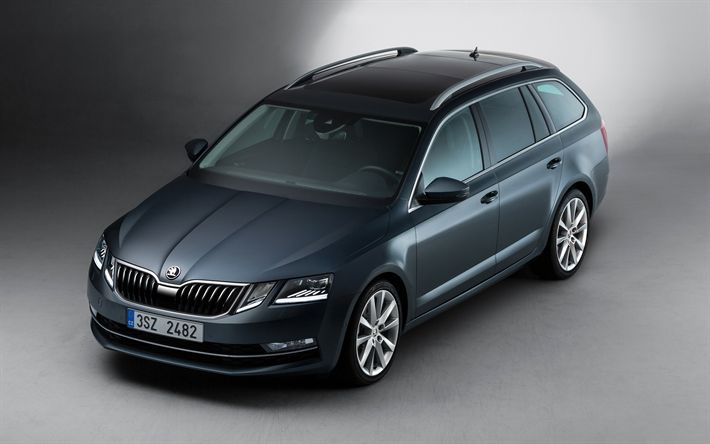 Download wallpapers Skoda Octavia Combi, 2017, 4k, blue Octavia, station wagon, new A7, Czech cars, A7 Combi, Skoda