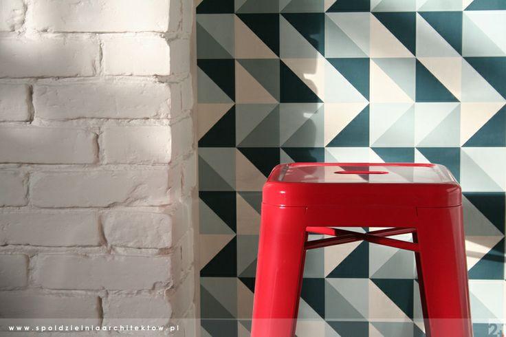 bar stool and wallpaper
