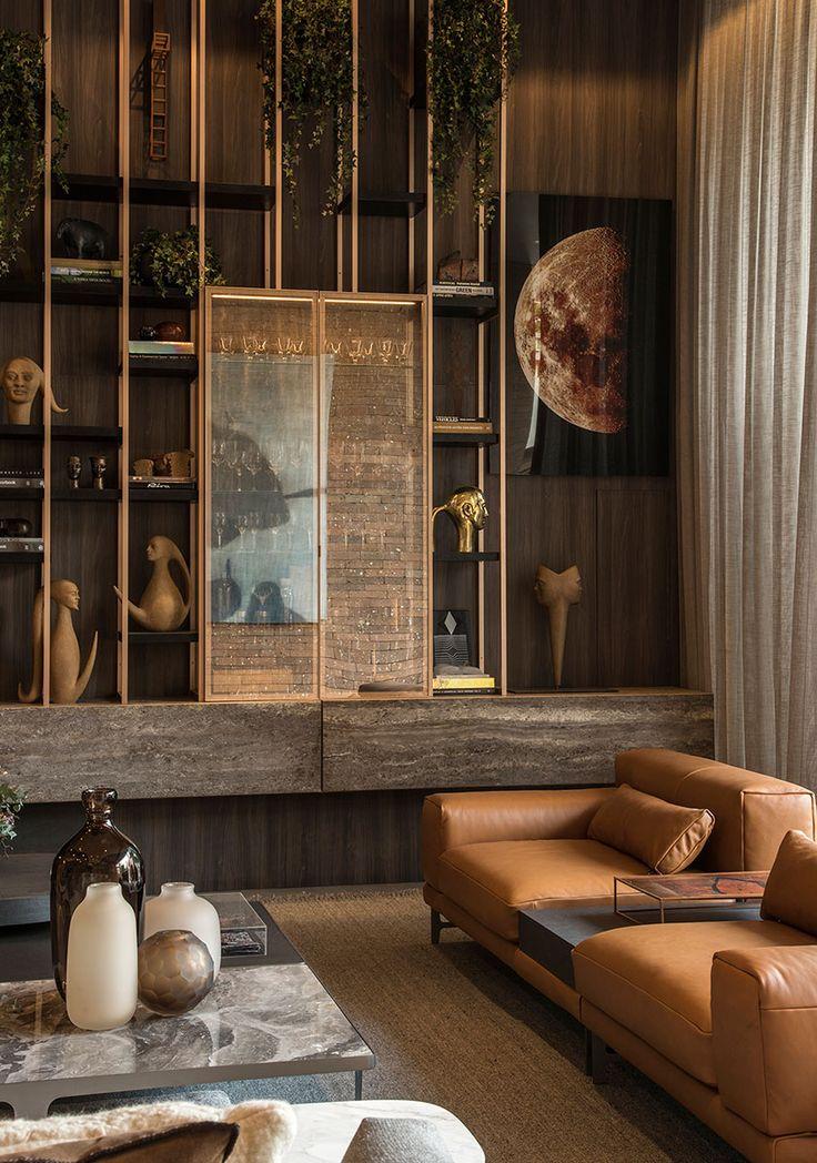 Decoração, design de interiores, decoração de casa, iluminação, obra de arte, quadro, pintura, flores, plantas, flores na decoração, plantas na decoração, sofá de couro, escultura.