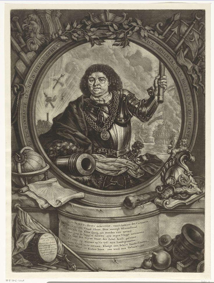 Arnoud van Halen | Portret van Gilles Schey, Arnoud van Halen, 1683 - 1732 | Allegorisch portret van admiraal Gilles Schey. In zijn hand de aanvoerderstaf en op de achtergrond een zeeslag. Hij draagt een harnas en heeft om zijn hals een keten met een medaillon. De omlijsting is versiert met vlaggen, wapens en nautische elementen.