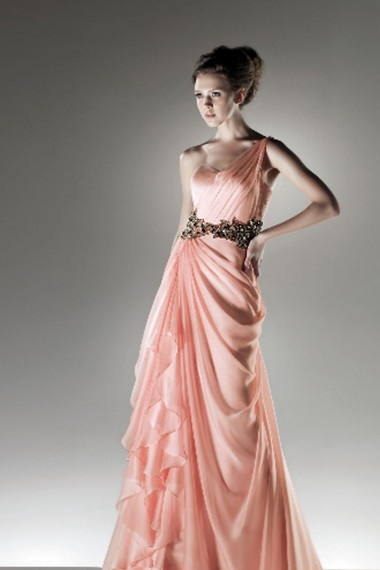 Shop 2012 Collection New Arrival Prom Dresses Vintage Prom Dresses Spring Colors Pink Empire Waist One shoulder Floor length Chiffon all fashion new styles with big discount for girls and women.