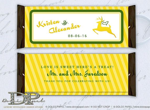 Yellow And Green John Deere Tractor Inspired Wedding Large Hershey Candy Bar Wrers By Dolcepapel