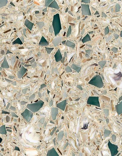 Countertop comprised of quartz, sea shells, exotic sea glass