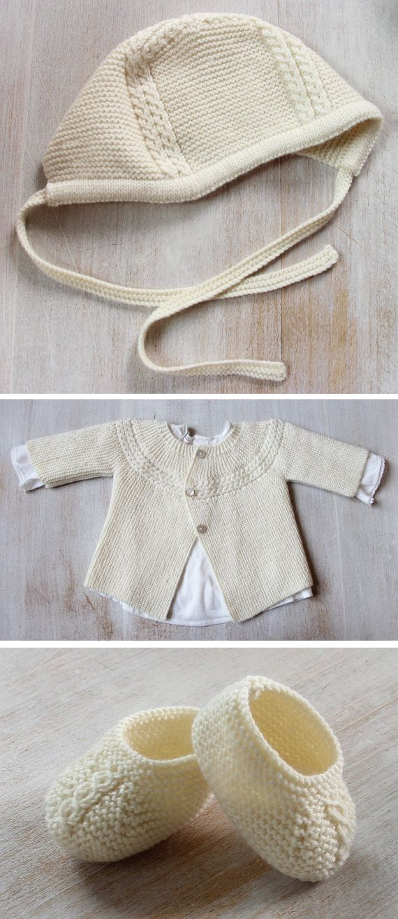 Knitting patterns for Baby Layette Set inspired by Princess Charlotte. The bonnet, cardigan, and booties all feature the cable detail similar to the bonnet the princess wore in her first debut. 3 Sizes : Newborn / 3 months / 6 months. Patterns are also av